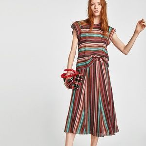 Zara Knit Multicolored Striped Top and Skirt Set